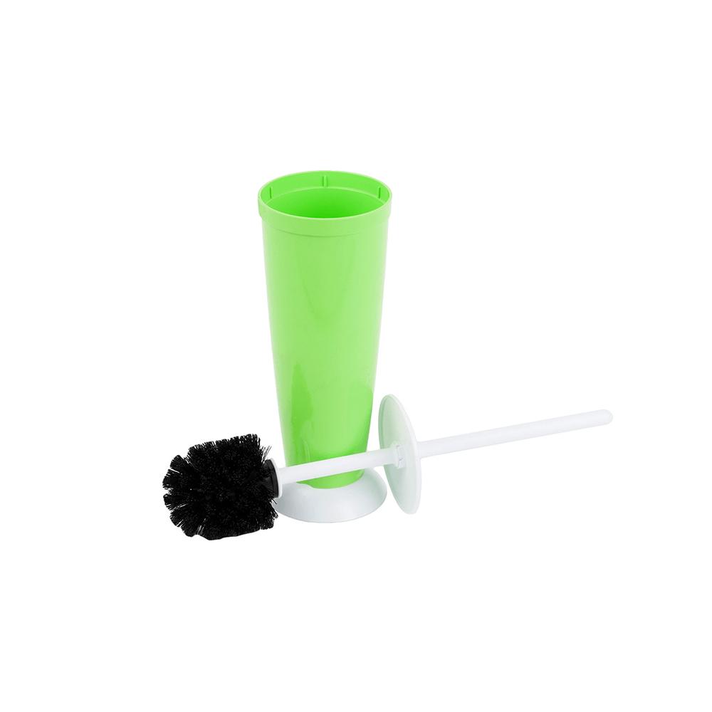 Perie si suport cu capac Romatatay WC Nora, plastic, verde jad, 10 x 42 cm imagine 2021 mathaus
