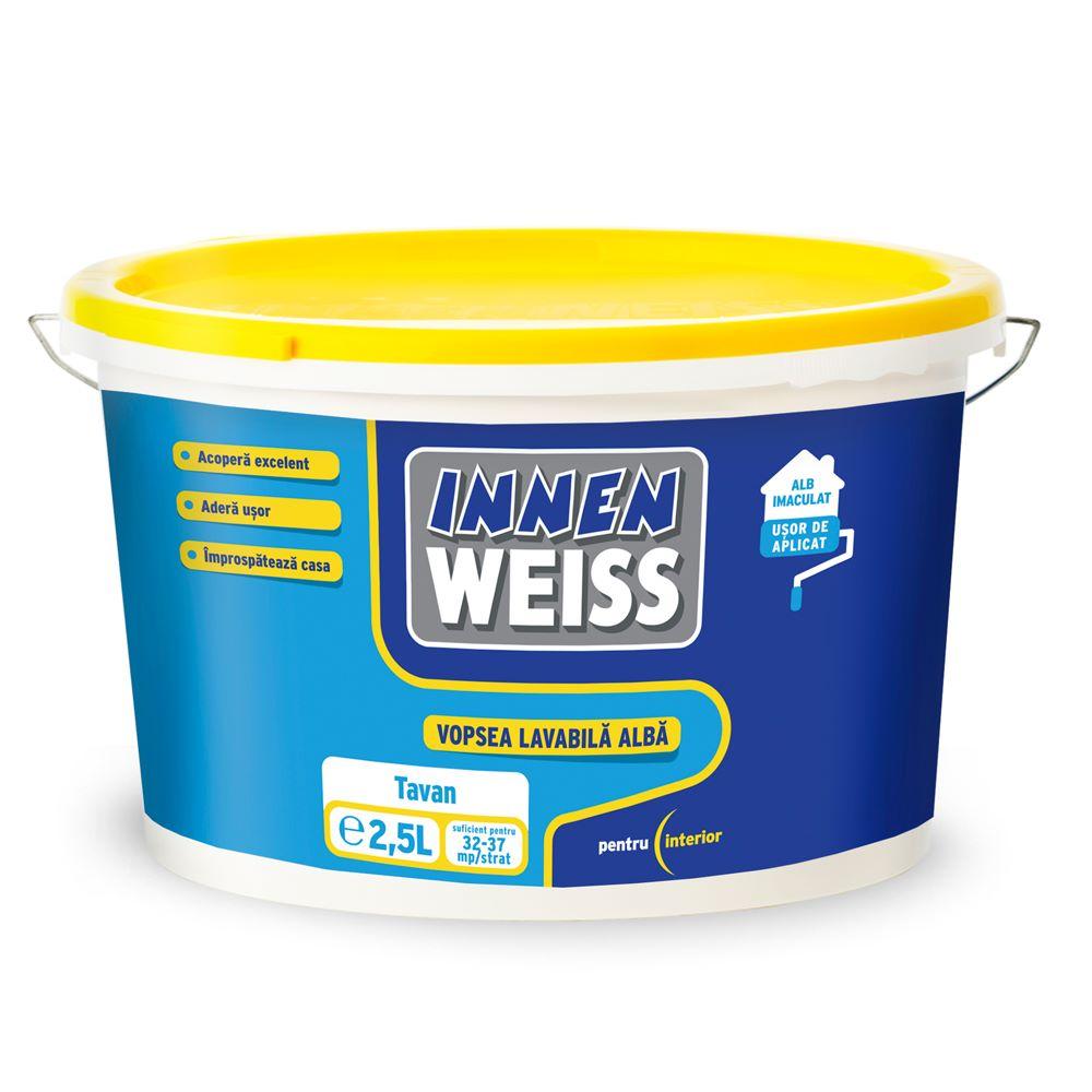 Vopsea lavabila interior, Innenweiss, alba, 2,5 L