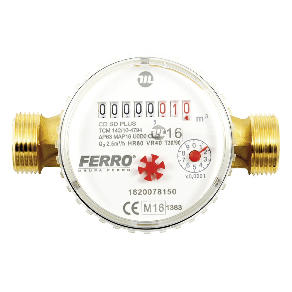 Contor pentru apa Ferro CDSD15ACPLUS, cu racorduri filetate 3/4 inch, D 15 mm mathaus 2021