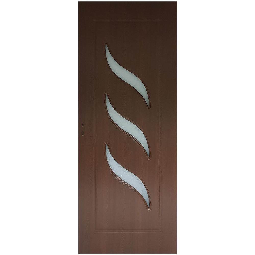 Usa interior cu geam Pamate M02, stejar auriu, 203 x 70 x 3,5 cm + toc reglabil, reversibila
