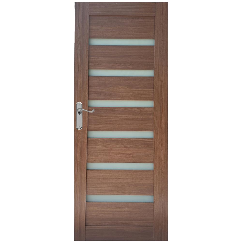 Usa interior cu geam Pamate U73, stejar auriu, 203 x 60 x 3,5 cm + toc 10 cm, reversibila mathaus 2021