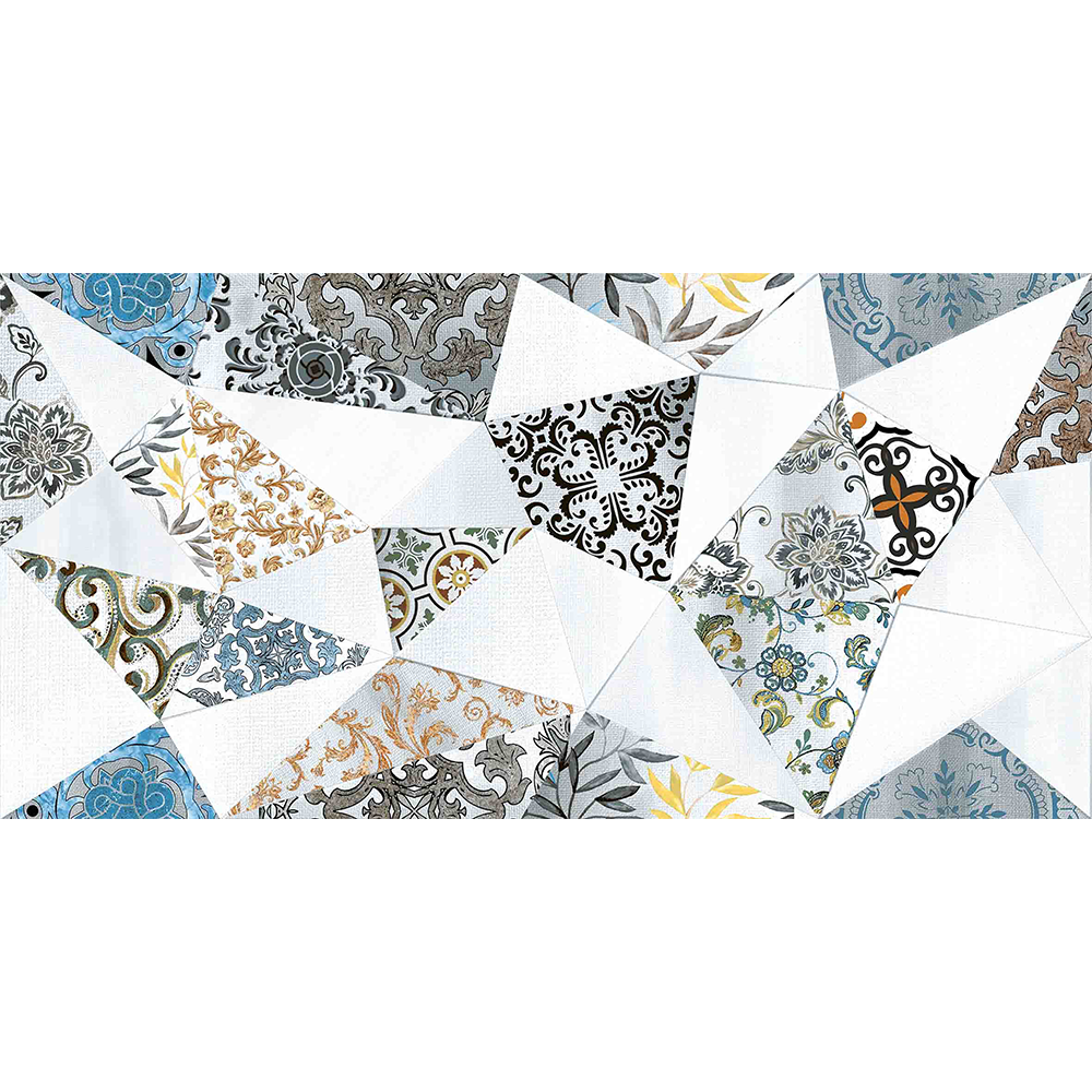 Faianta decorativa Exotica Angle Blue albastru, model geometric, 30 x 60 cm