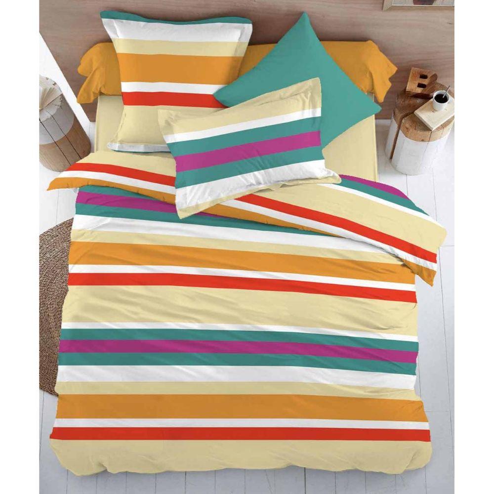 Lenjerie pat 2 persoane Minet Conf, bumbac 100% , linii colorate cu galben