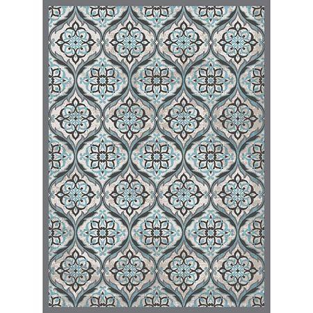 Covor modern Oxford 6223, poliester cu amestec vascoza, model clasic turcoaz, 80 x 150 cm