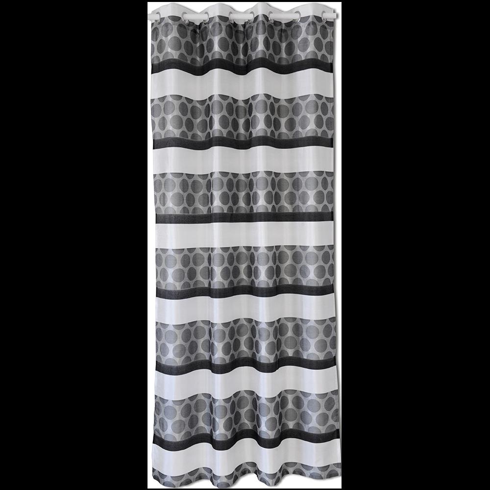 Perdea poliester, alb/negru, 140 x 245 cm