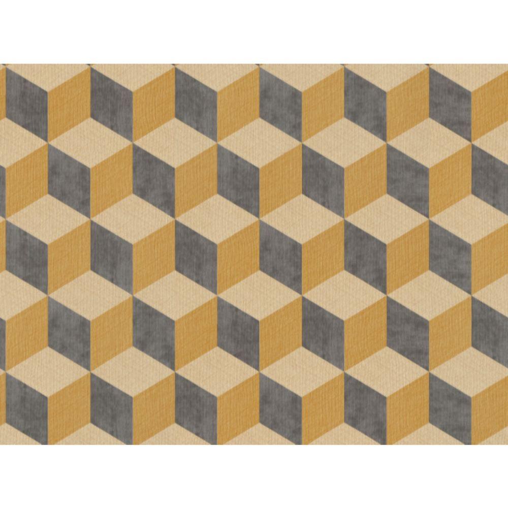 Tapet vinil Cubiq 220367, galben, model geometric 3D, 10 x 0.53 m