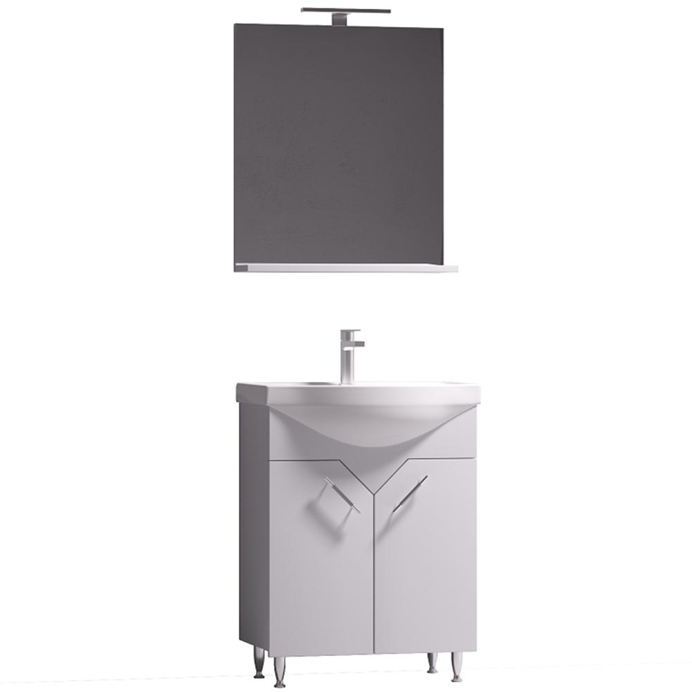 Set mobilier baie Badenmob Sirius 60, masca + lavoar + oglinda cu polita si iluminare, alb imagine 2021 mathaus