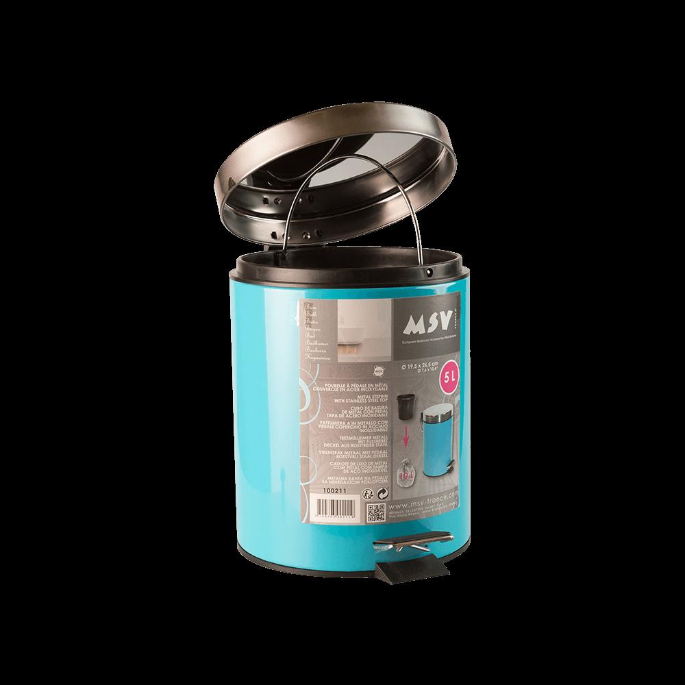 Cos de gunoi metalic cu pedala, bleu, 5 l