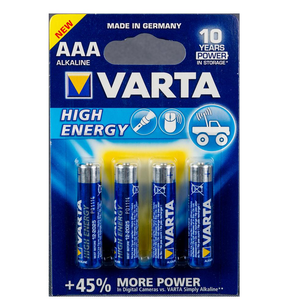 Baterii Varta High Energy, alcaline, AAA, 4 buc imagine 2021 mathaus