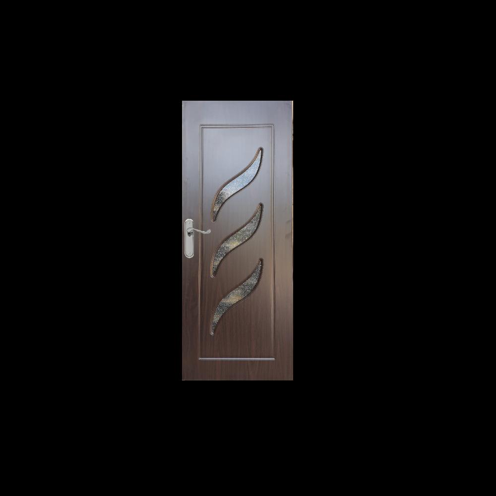 Usa interior cu geam Pamate M02, wenge, 203 x 70 x 3,5 cm + toc 10 cm, reversibila