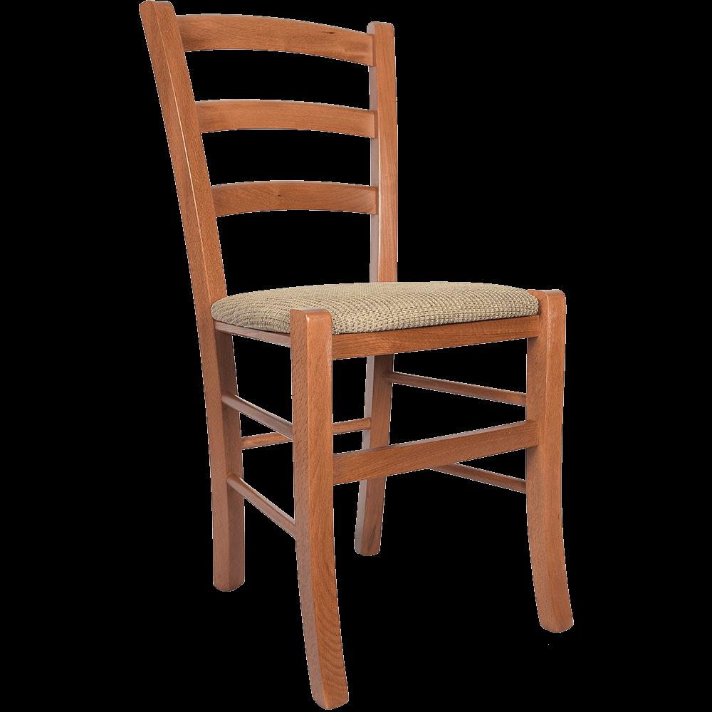 Scaun Paesana din lemn de fag, culoarea cires, sezut stofa bej K8, 88 x43 cm imagine 2021 mathaus