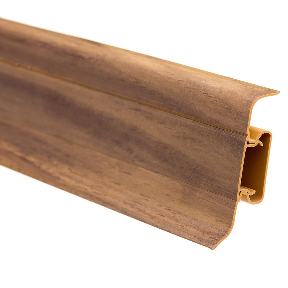 Plinta parchet cu canal cablu, PVC, nuc inchis, 2500x55x22.5 mm imagine MatHaus