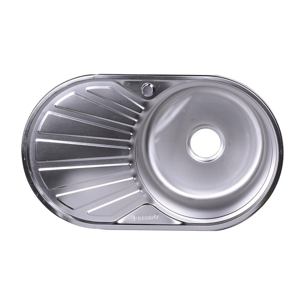 Chiuveta de bucatarie AC pentru blat FREDDO, inox 304, argintiu, lucios, ovala, cuva dreapta, adancime 16 cm, 76 x 48 cm imagine 2021 mathaus