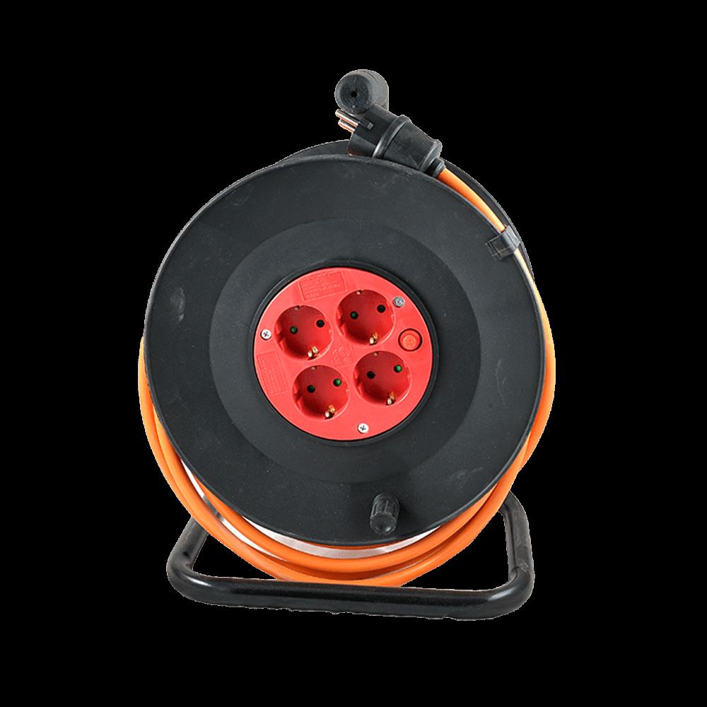 Tambur derulator cablu electric, 4 prize, 3 x 2,5 mm, 30 m, portocaliu mathaus 2021