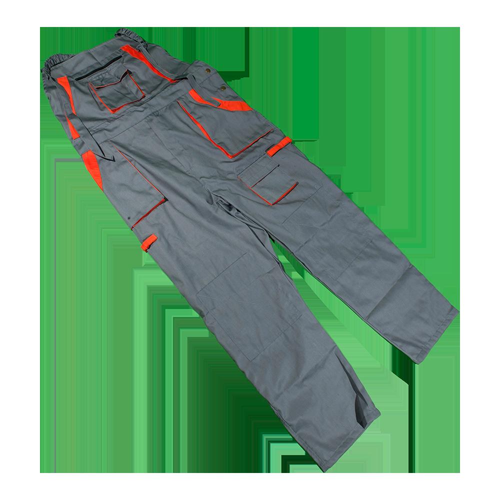 Pantalon de lucru cu pieptar Samoa, ajustabil cu catarama, marimea 48, gri/portocaliu imagine 2021 mathaus