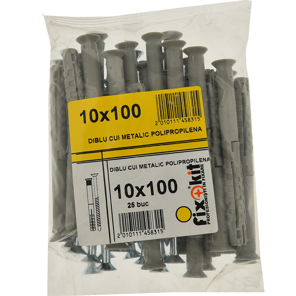 Diblu cui metalic polipropilena, 10 x 100 mm, 25 buc/set