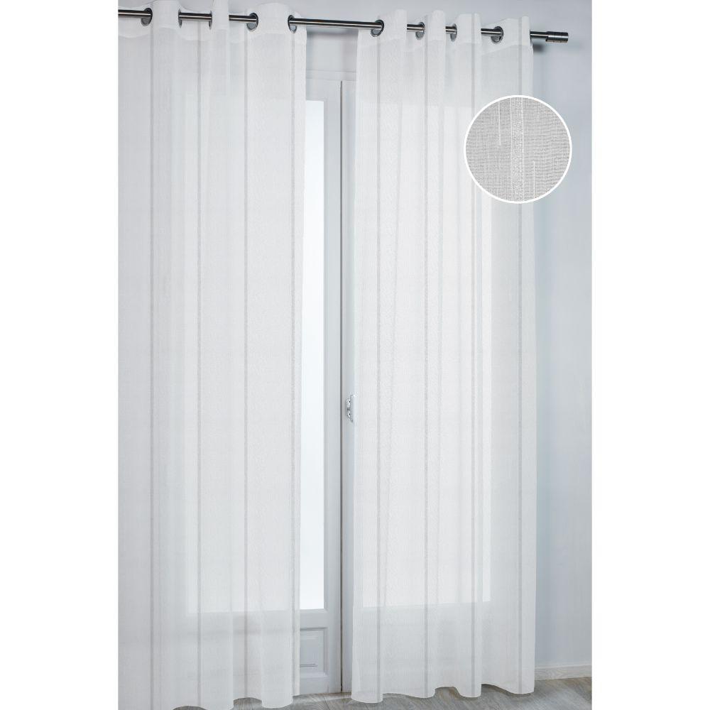 Perdea Serenity 3840 din 100% poliester, alba cu dungi verticale argintii, 140 x 260 cm imagine 2021 mathaus
