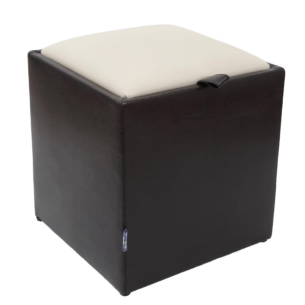 Taburet Box crem / wenge Ip, 37 x 37 x 42 cm imagine MatHaus.ro