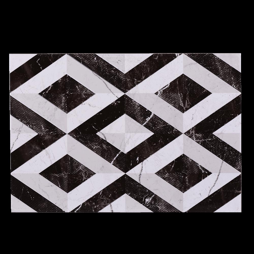 Faianta decorativa Pompei, finisaj estetic, bej si maro, model geometric, 27,5 x 40 cm