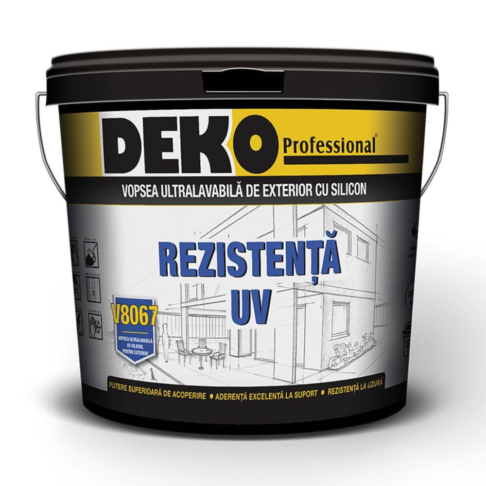 Vopsea lavabila exterior cu silicon, Deko V8067, alba
