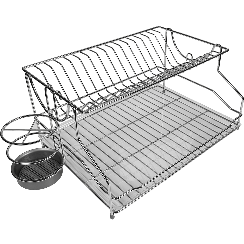 Suport farfurii, cu suport tacamuri, fier cromat, 54 x 32 x 21 cm, 2 etaje imagine MatHaus