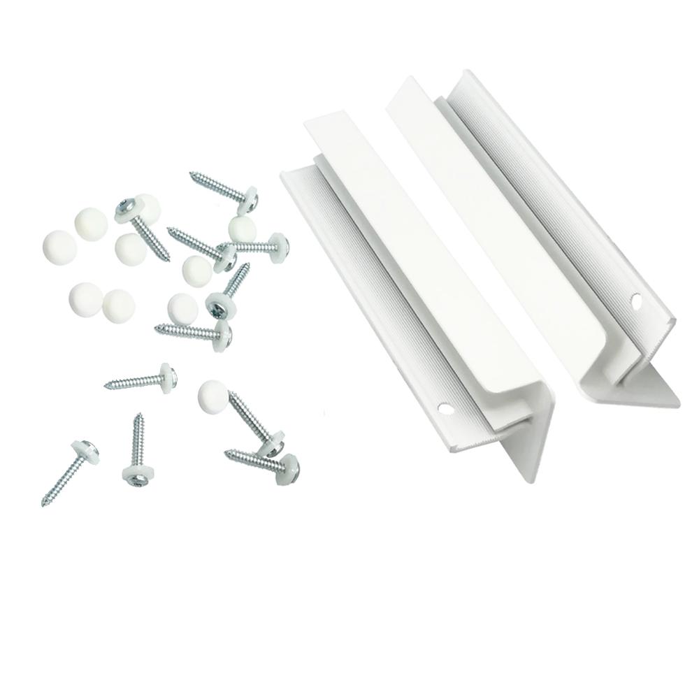 Set accesorii pentru glafuri din aluminiu, L: 18 cm, RAL 9016 imagine MatHaus.ro