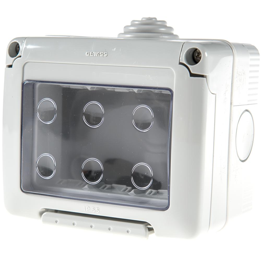 Carcasa monatj aparent Gewiss GW27043, 3 module, IP55, 99 x 82 x 65 mm imagine MatHaus.ro