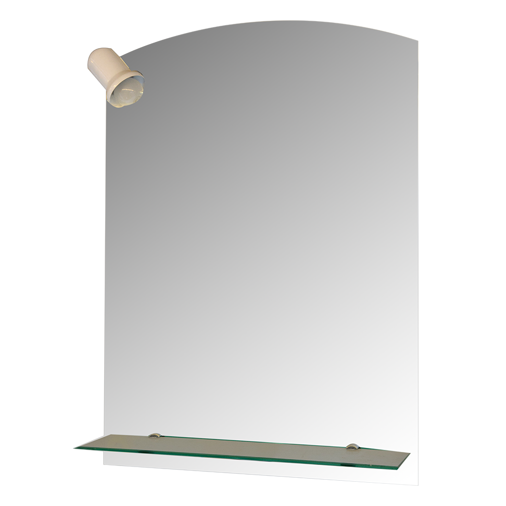 Set oglinda cu spot + etajera Sanotechnik, clasic, sticla clara, alb, cu iluminare, 50 x 70 cm