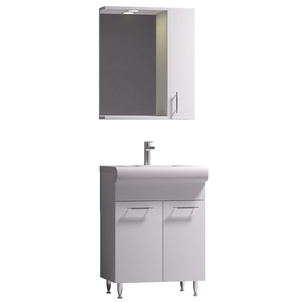 Set mobilier baie Badenmob Seria 004 - 60, masca + lavoar + oglinda, alb imagine 2021 mathaus