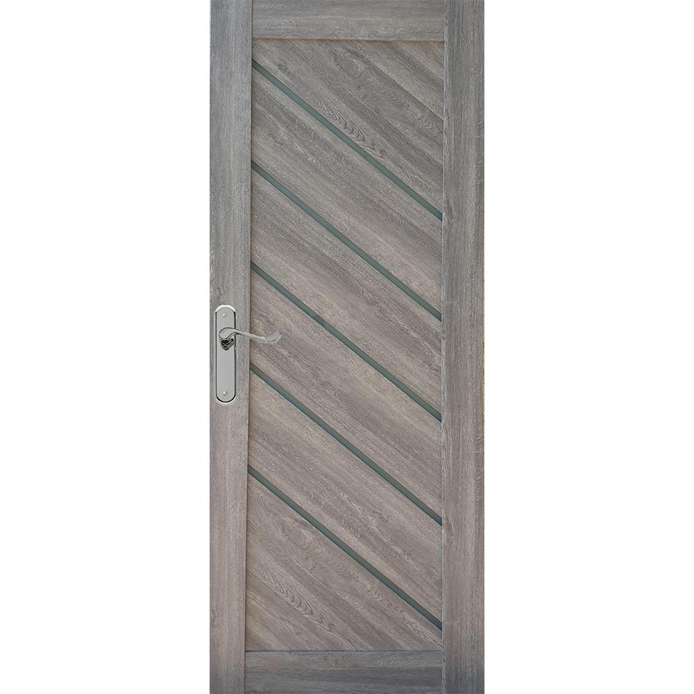 Usa interior cu geam Pamate U77, gri, 203 x 80 x 3,5 cm + toc 10 cm, reversibila imagine MatHaus