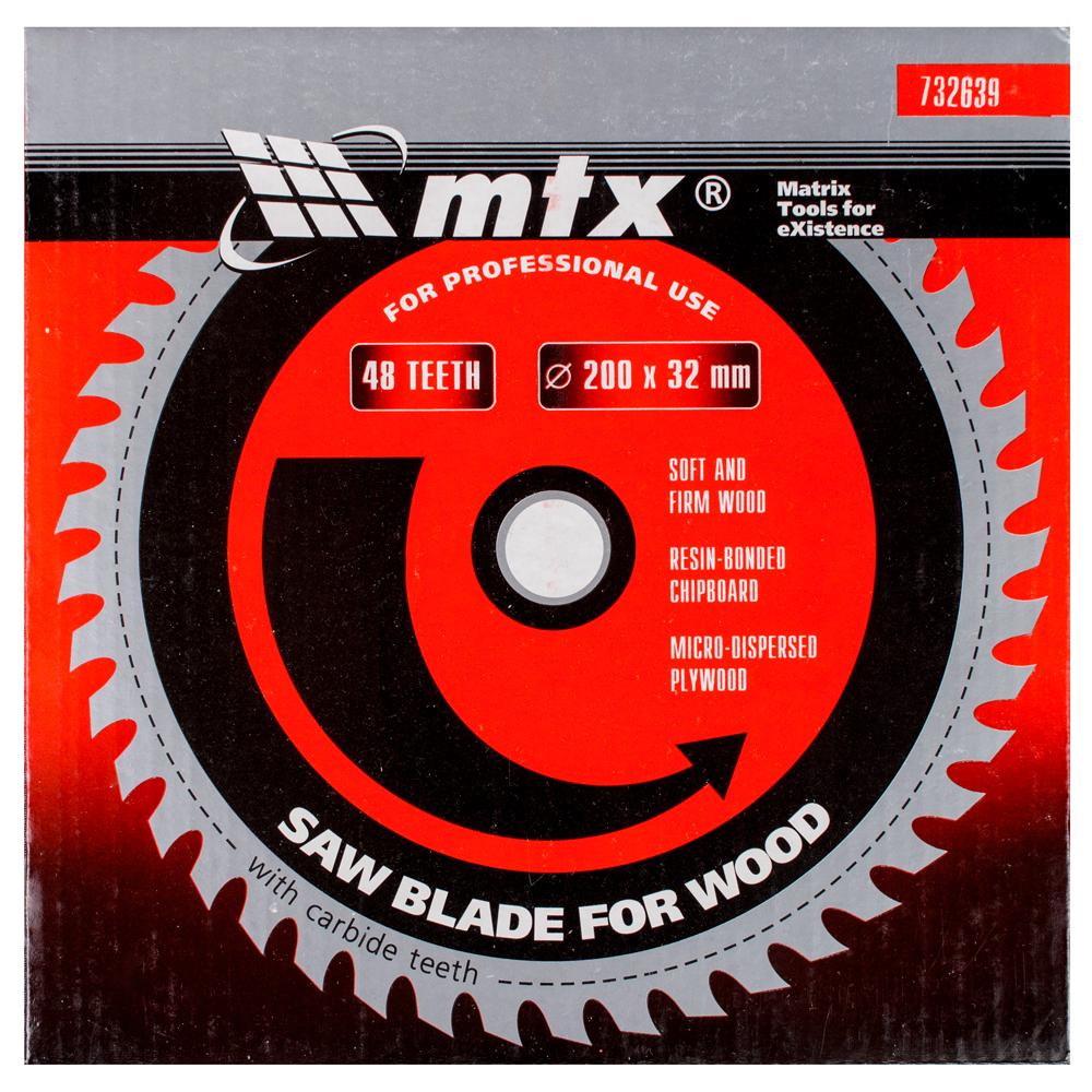 Disc debitare lemn, MTX, 200 х 32 mm, 48 dinti, bucsa 30/32