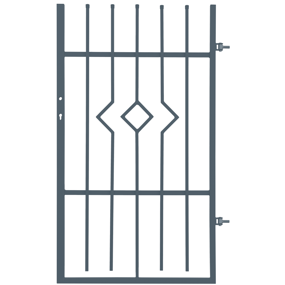 Poarta pietonala cu deschidere dreapta Cristal, otel galvanizat, gri antracit, 0,9 x 1,5 m imagine MatHaus