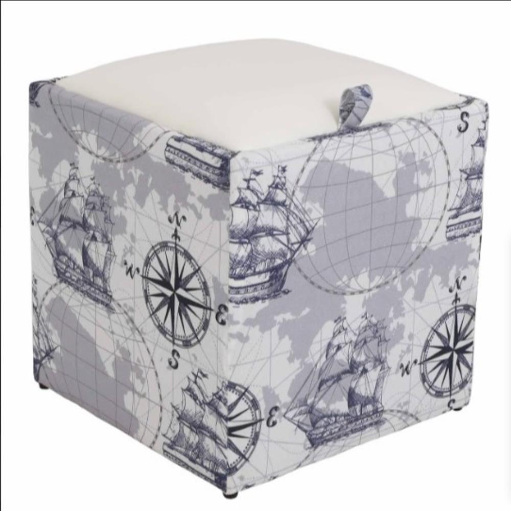 Taburet Box piele ecologica, microfibra, gri/alb, cu depozitare, 37 x 37 x 42 cm imagine MatHaus.ro