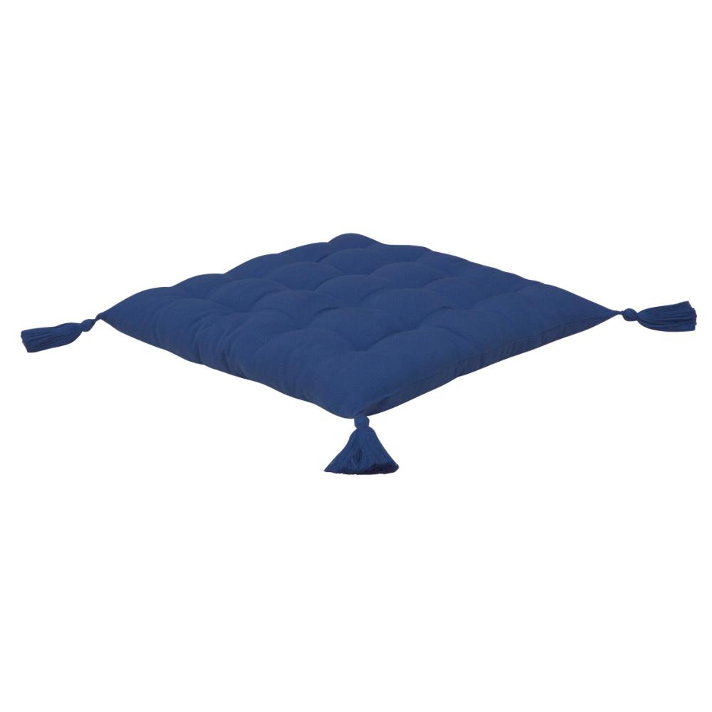 Perna scauna Ethnic albastra, 100% bumbac, 40 x 40 cm
