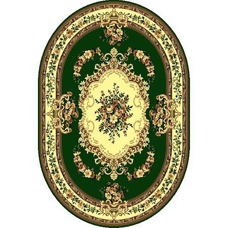 Covor clasic Gold 047/32 O, polipropilena BCF, verde-bej, 60 x 110 cm