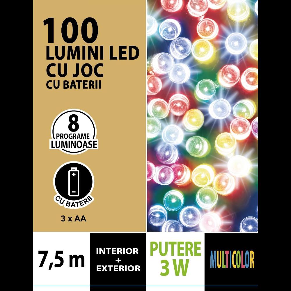 Instalatie brad Craciun, Cris, 100 LED-uri multicolore, 7,5 m, timer, interior / exterior, alimentare baterii imagine 2021 mathaus
