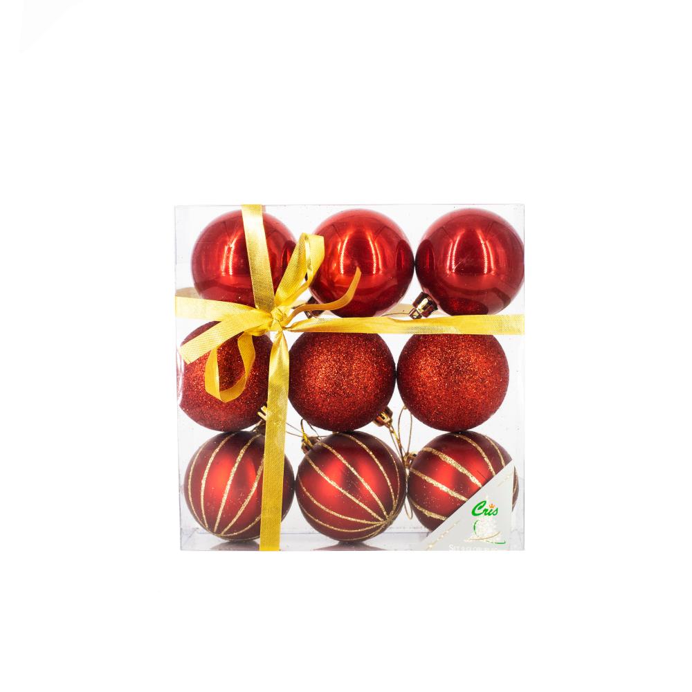 Set 9 globuri decorative de Craciun Cris, plastic, 6 cm