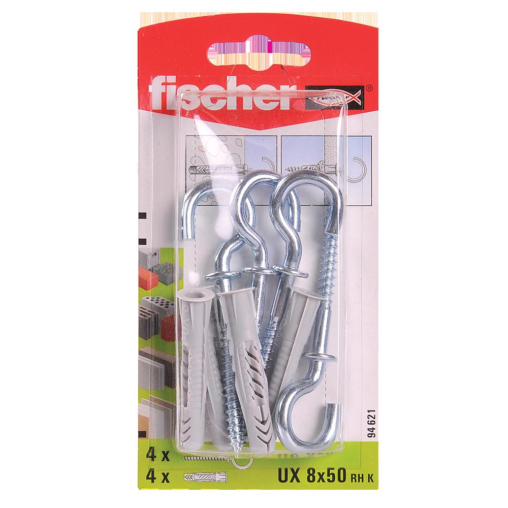 Diblu din nailon cu surub carlig, Fischer UX, 8 x 50 mm, 5,5 x 84 mm, 4 buc mathaus 2021