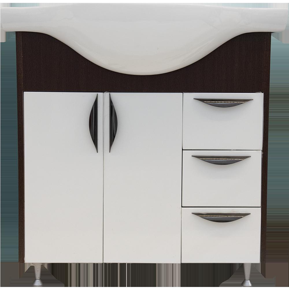 Mobilier de baie baza, lavoar Serenity, alb/wenge, 770 x 330 x 810 mm