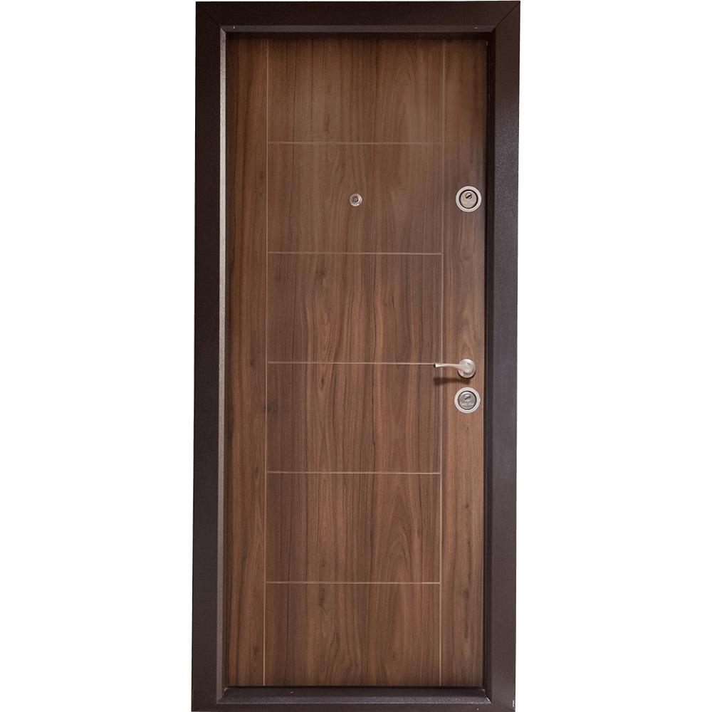 Usa metalica intrare Arta Door 304, cu fete din MDF laminat, 880 x 2010 mm, deschidere stanga, culoare nuc mathaus 2021