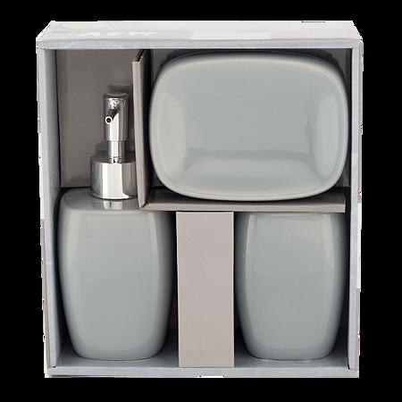 Set 3 accesorii pentru baie MSV, ceramica, gri, 18 x 18 x 8 cm