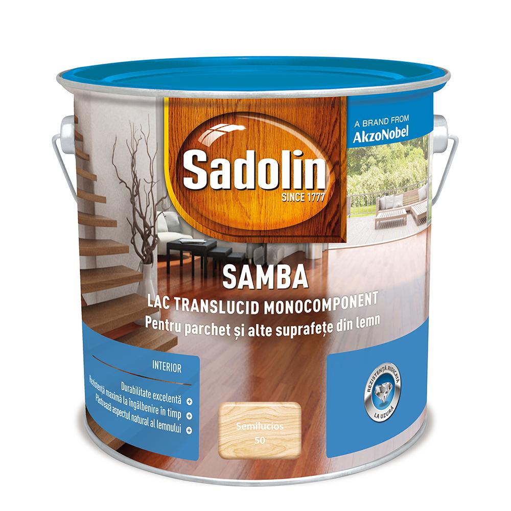 Lac pentru lemn si parchet, Sadolin Samba, incolor, interior, 2,5 l imagine MatHaus.ro