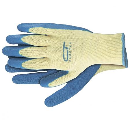 Manusi de protectie tricotate Sibreth, poliester + latex, marimea L, alb/albastru