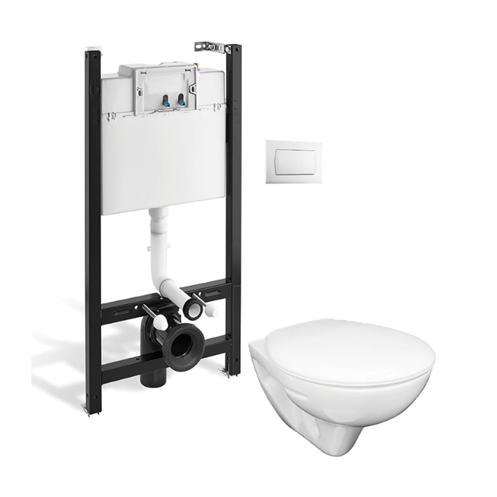 Pachet toaleta Roca, rezervor ingropat, WC suspendat, ceramica, alb mathaus 2021