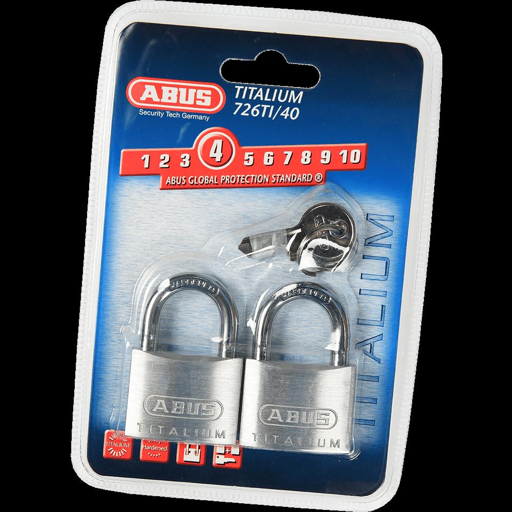 Set 2 lacate din aluminiu, Abus Titalium 726TI, l 40mm, 3 chei mathaus 2021