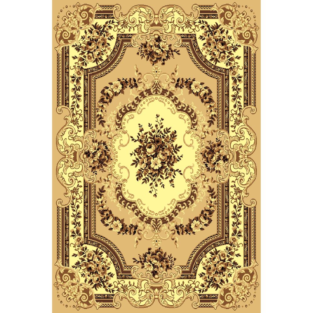 Covor clasic Gold 047/12, polipropilena BCF, bej-maro, 50 x 80 cm imagine MatHaus.ro