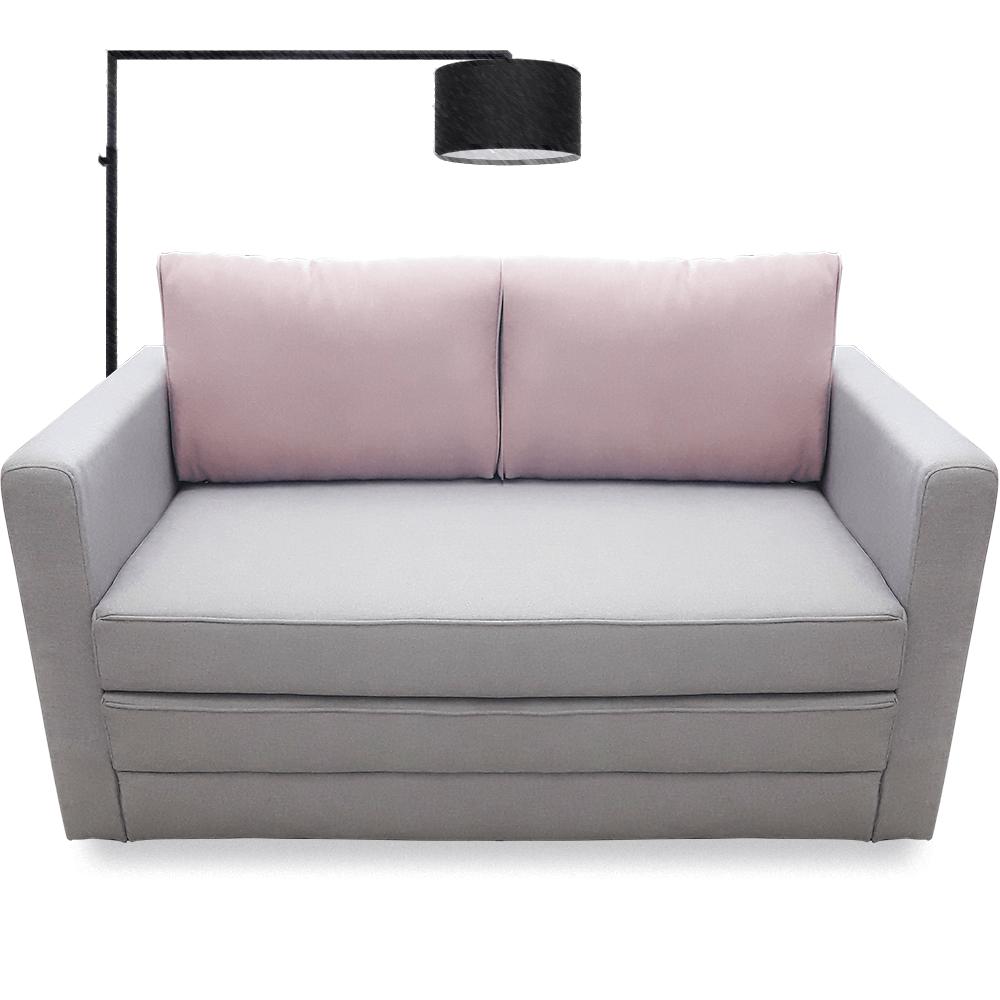 Canapea extensibila 2 locuri Young Silver & Flamingo, 2 perne, 135 x 62-80 x 75 cm