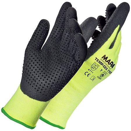 Manusi de protectie Mapa Tempdex 710S,  fibre sintetice + nitril, marimea 7, verde + negru
