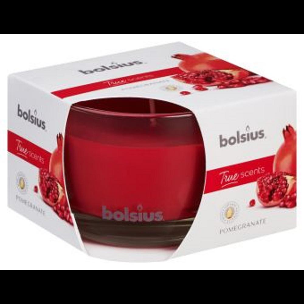 Lumanare parfumata Bolsius True Scents, rosu, rodie, 63 x 90 mm imagine 2021 mathaus