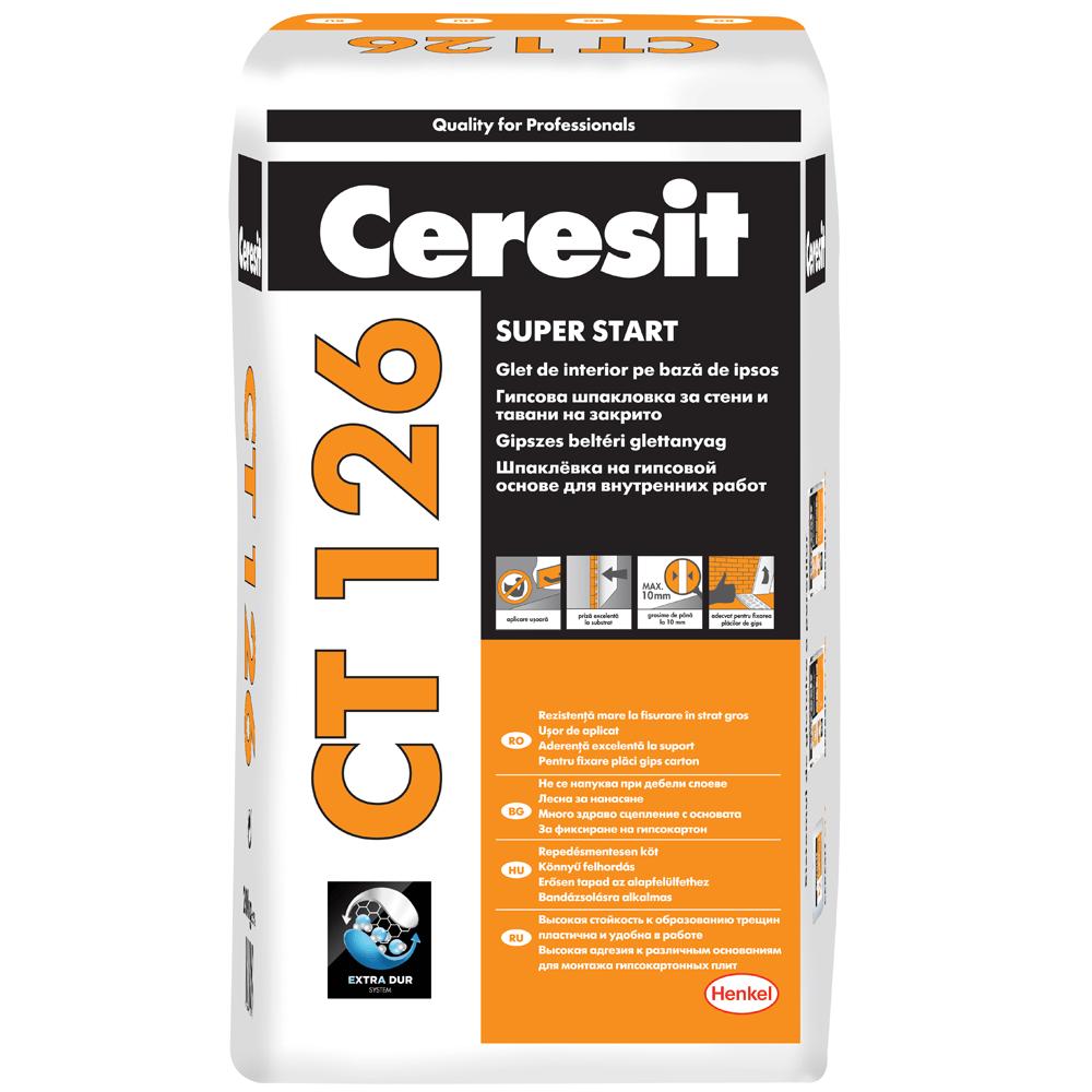 Glet Ceresit CT 126, pe baza de ipsos, pentru interior, 20 kg imagine 2021 mathaus
